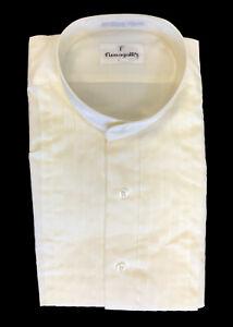 New Men's Ivory Banded Collar Tuxedo Shirt Mandarin Nehru Pleated Medium 34/35