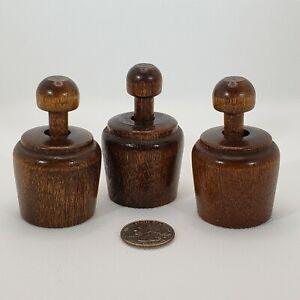 3 Vintage Wood Cookie Press / Butter Stamp - Acorn Pineapple Flower - Primitive