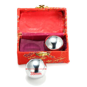 2x Baoding Balls Chrome Chinese Health Exercise Stress Relief Relaxation Therapy