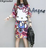 Plus Over Size Summer Women HelloKitty Top Female Large Short Sleeve Dress Cute