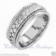 18K WHITE GOLD BRAIDED MENS WEDDING BAND TWISTED ROPE MANS COMFORT FIT RING  8mm