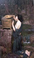 Huge Oil painting J. W. Waterhouse Mariana in the South nice girl before mirror