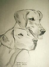 """Original Drawing Series Best Friends by Bets """"Patient Hounds"""" Foxhound Dog Gift"""