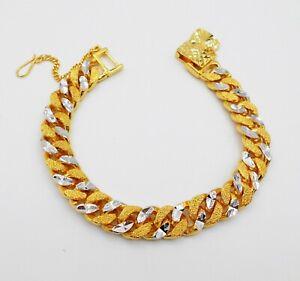 23K 24K Thai Baht Yellow Gold&White Gold Plated Bracelet 7.5 Inch Jewelry Men's