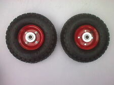 "2 x 10"" pneumatic wheels 16mm centre hub for trolley barrow cart medium duty"