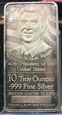 10 Troy Ounce .999 Fine Silver Bar Ronald W. Reagan Limited of 2,500 Rare