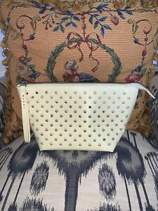 MARNI Coated Fabric Pouch Wristlet Make Up Bag Purse Perforated Ivory Travel