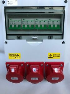 3 phase 63Amp Wall mounted Industrial CEE panel sockets distribution board,