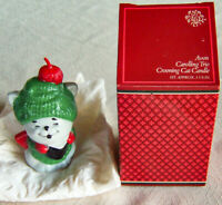 """Vintage 1981 Avon """"CAROLLING TRIO"""" Crooning Cat Christmas 3 5/8"""" Candle - New!"""