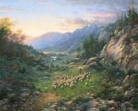 "Larry Dyke ""The Good Shepherd"" Sheep Landscape Print AP  Certificate  28"" x 22"""