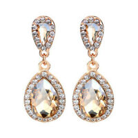 Pierced Champagne Crystal Tear Drop Sparkling Diamante Dangle Earrings Gold