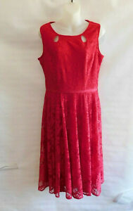 NWT Danny & Nicole Fit & Flare Red Lace Dress Women's Sz 10 Perfect for Holidays