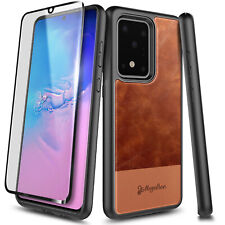 For Samsung Galaxy S20 Plus S20 Ultra Leather Phone Case Cover +Screen Protector