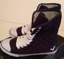 VOI JEANS LADIES NAVY BLUE QUILTED HI-TOP CANVAS BOOTS SIZE UK 3 BNWB
