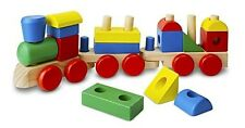 Wooden Toy Train Pull Along Shapes Stacking Wood Blocks Toddler Development Toys