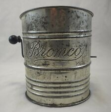 Bromco Vintage Flour Sifter Fancy Black Wooden Handles Hand Crank