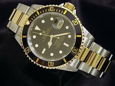 Rolex Submariner Mens 18k Yellow Gold & Stainless Steel Black Date Sub SEL 16613