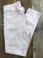 "J Brand Pink/Tan Floral Print Slender Capri Jeans Size 28x26 Rise 9"""