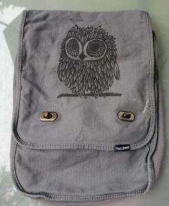 Messenger Bag Authentic Pigment Dyed Canvas 100% Cotton Grey Gray Owl Brass clip