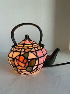 Stained Glass Tea Pot Kettle Table Lamp Night Light Corded Handcrafted VTG