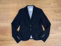 NWD Banana Republic Womens sz 6 black gray pinstriped blazer jacket Wool blend