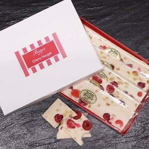 Cherry Nougat Gift Box Chunky Fruit Pieces Peanuts Glace Cherries 5 x 120g Bars