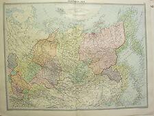 1920 Large Map ~ Northern Asia ~ Siberia Yakutsk Mongolia Yeniseisk Tomsk