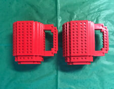 Set Of Two Think Geek Red LEGO Mugs For Drinking And Building! Fun!
