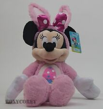 "Disney 16"" Minnie Mouse Pink Dressed as an Easter Bunny Stuffed Plush Bunny Ears"