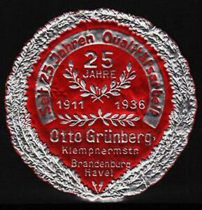 reklamemarke 1936 jub.25jahre klempner otto grünberg brandenburg a.d.havel /0925