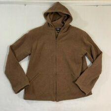 Eileen Fisher Brown Cotton Hoodie Sweatshirt Full Zip Shoulder Pads PP