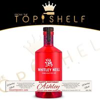 Personalised Whitley Neill Raspberry Gin bottle label any name any occasion