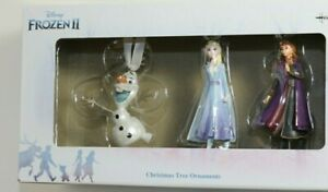 Hallmark Disney Frozen 2 II Elsa Anna and Olaf Christmas Tree Ornaments 3 PACK