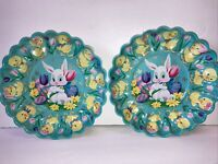 Vintage Retro Easter Scalloped Molded Plastic (2) Plates/Trays Bunny Chicks