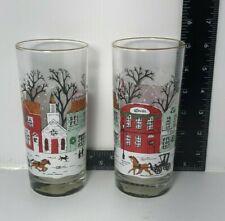 Vintage Libbey Winter Village Drinking Glasses Tumblers Set of 2