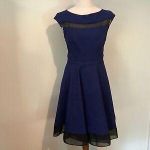 Nicola Finetti dress size 8 blue fit and flare sleeveless midi vintage style