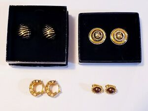 4 Piece Joan Rivers Gold Plated Mixed Style Clip-on Earring Lot