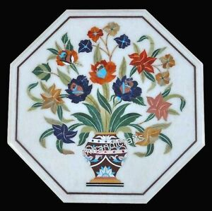 Colorful Flowers Art Inlay Corner Table Top White Marble Coffee Table 18 Inches