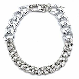 Silver Cuban Link Chain and Crystal Rhinestone Pet Necklace
