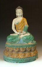 Chinese Antique Tri-colored Pottery Sakyamuni Buddha Statue