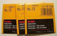 Kodak wratten GELATINA Filtro No 15 7.6cm OR 75mm Cuadrado