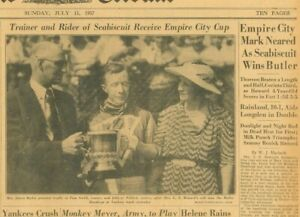 Seabiscuit Johnny Pollard Wins Butler Receive Empire City Cup July 11 1937 B37