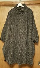 Women's Vintage Dani Colby Brand 100% Wool Gray Brown Cape Coat Wrap One Size