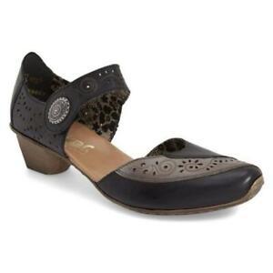Rieker Antistress Mirjam Mary Jane Shoes Laser Cut Black Gray Womens EU 39 US 8