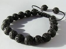 Men's Shamballa bracelet all 10mm BLACK FIRE ROCK LAVA STONE beads