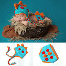 Baby Infant Newborn Dragon Knit Costume Photography Prop Crochet Hat Diaper Set