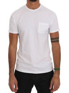 NEW $110 DANIELE ALESSANDRINI T-shirt White Cotton Crew-neck Chest Pocket s. XXL