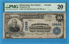 Albuquerque New Mexico $10 1902 Plain Back National Bank Note PMG Very Fine 20