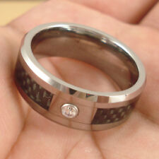 NEW Nice Tungsten Carbide CZ Band Wedding Ring Width 8mm Size 10 JL94