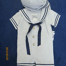 Lito boys size 3/6 mo. sailor look, lt/ blue and navy seersucker, new w/tags